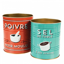Load image into Gallery viewer, Salt & Pepper Storage Tins (Set of 2)