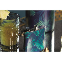 Load image into Gallery viewer, BarCraft Stainless Steel Tropical Leaves 175ml Hip Flask