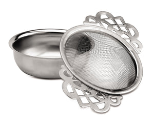 Tea strainer /tray + patterned handles