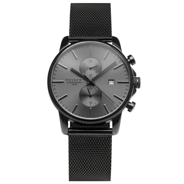 TXM094. All black watch in a modern 2 dial chronograph style.