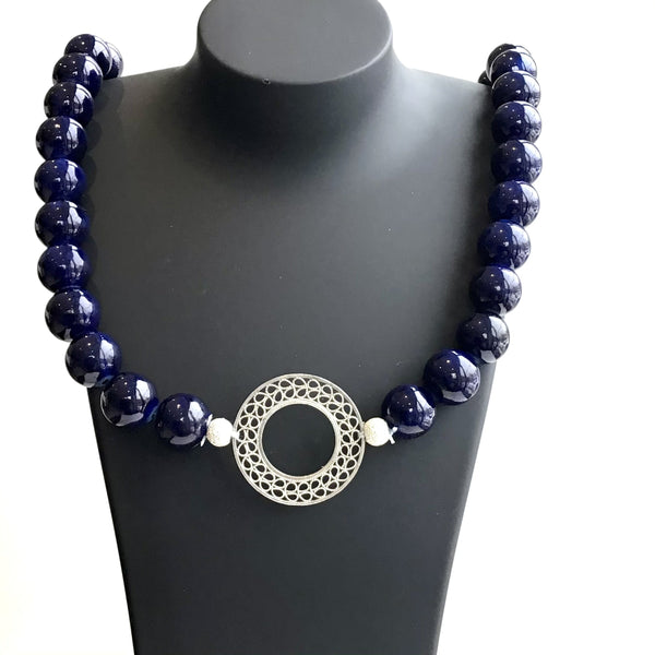 Blue Jade and Filigree Necklace - AG Agora Jewellery London