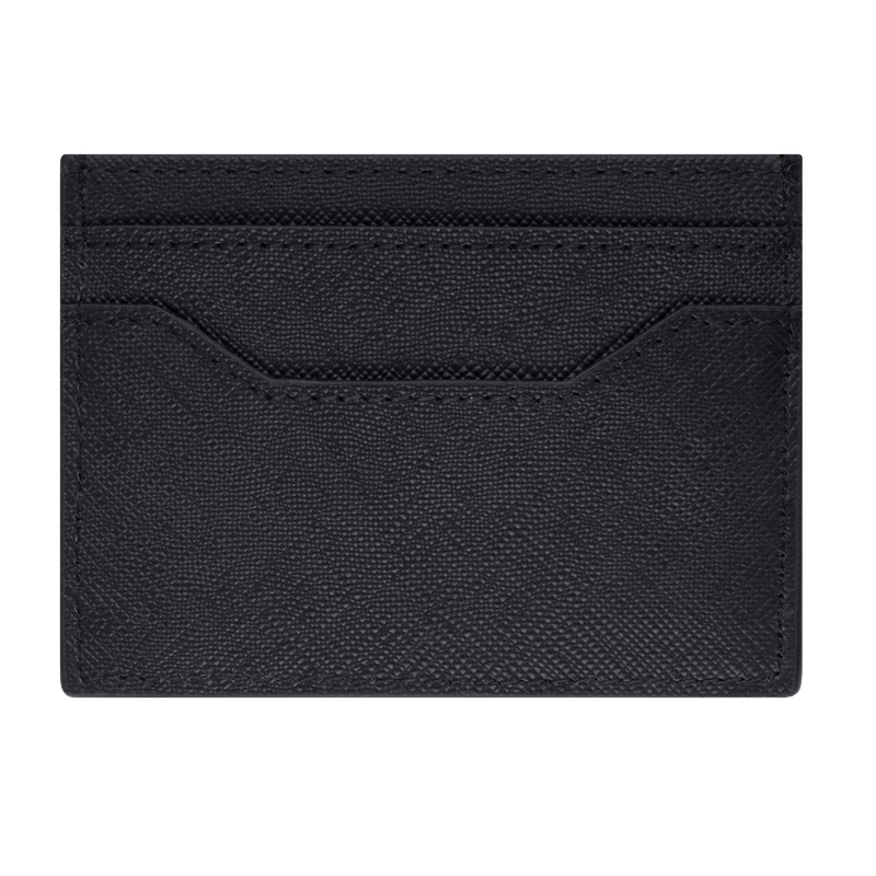 Brent by Tayroc is a textured leather card holder wallet in black, featuring edge stitching, embossed Tayroc logo tag all in a slim design. Back