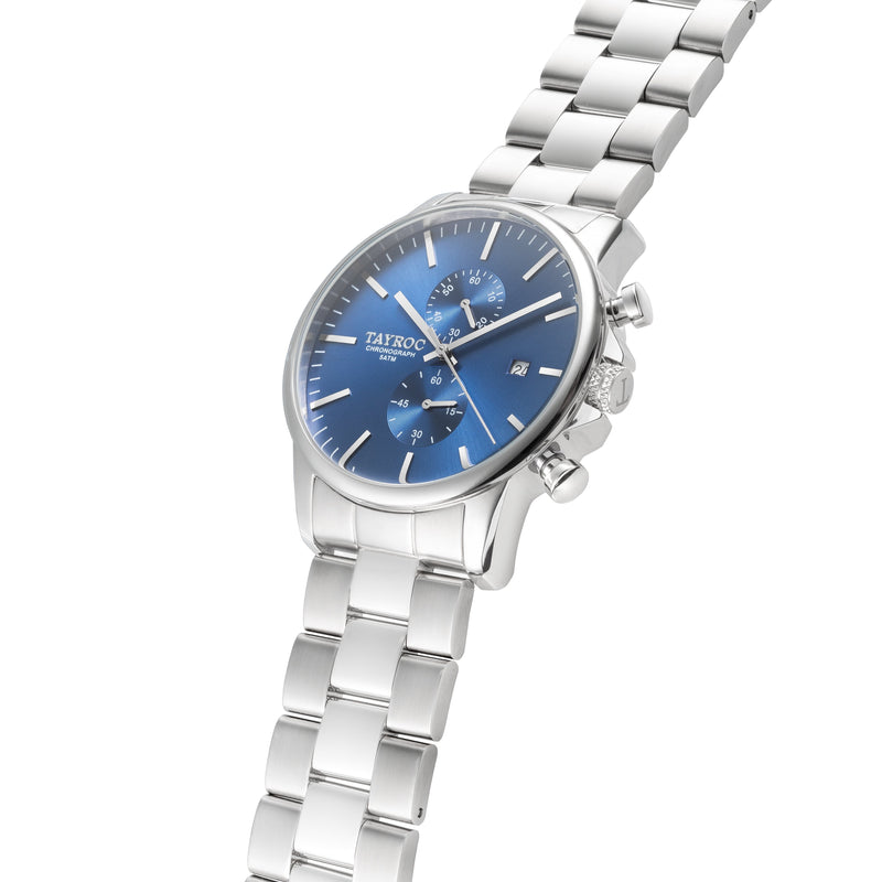 Long time best selling mens silver watch with blue face, Blue Steel by Tayroc. Side shot.