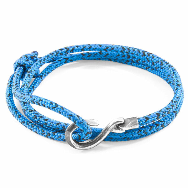 Blue Noir Heysham Silver and Rope Bracelet