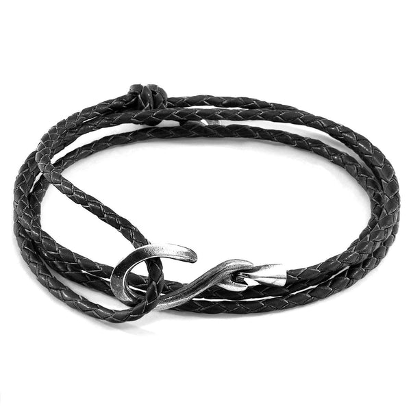 Coal Black Heysham Silver and Braided Leather Bracelet