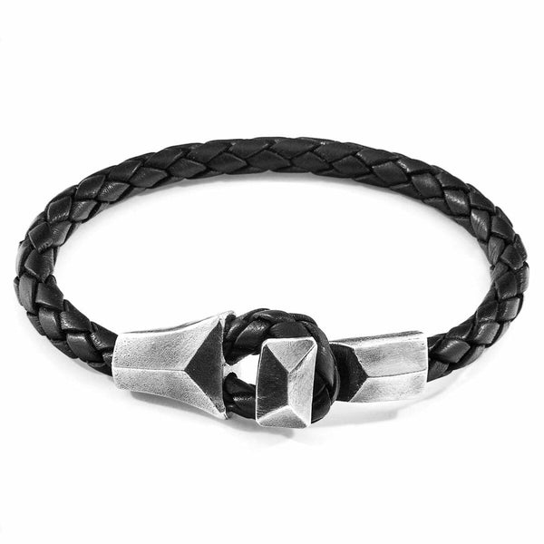 Midnight Black Alderney Silver and Braided Leather Bracelet
