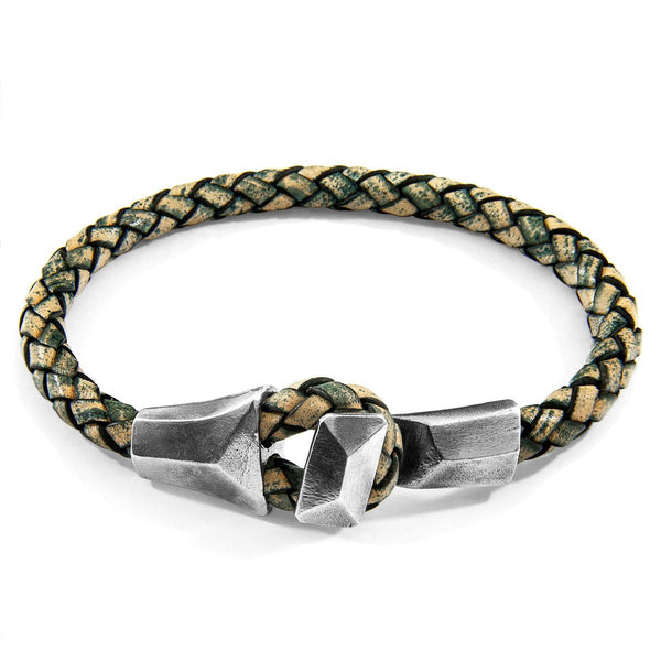 Petrol Green Alderney Silver and Braided Leather Bracelet