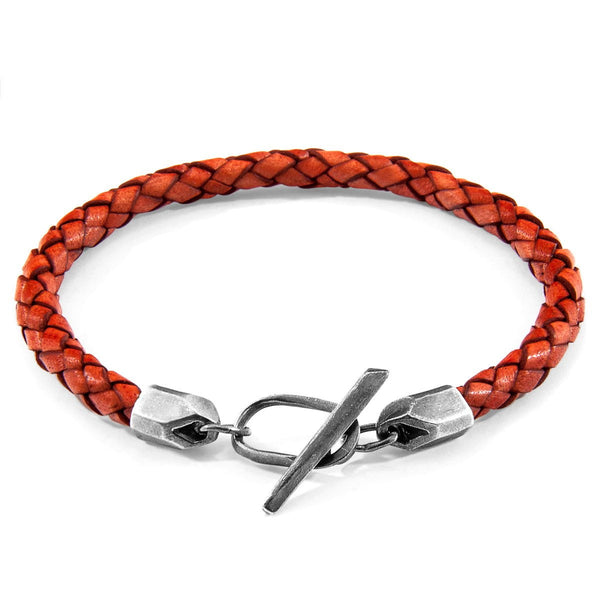 Amber Red Jura Silver and Braided Leather Bracelet