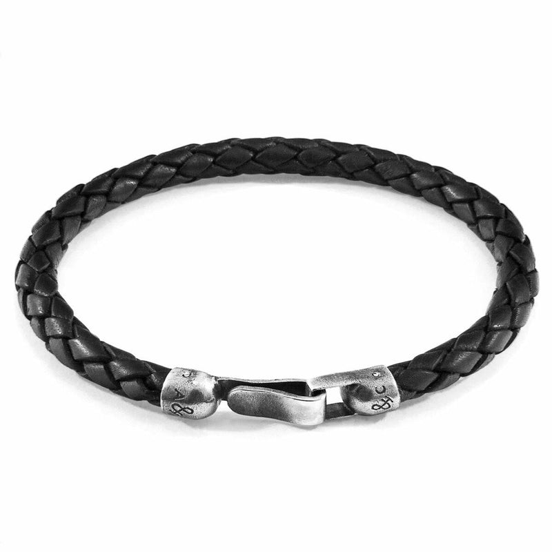 Midnight Black Skye Silver and Braided Leather Bracelet