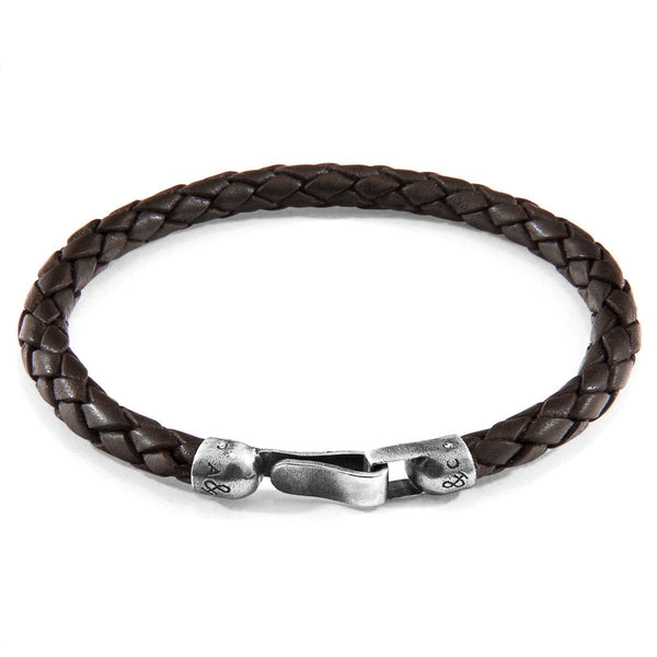 Cacao Brown Skye Silver and Braided Leather Bracelet