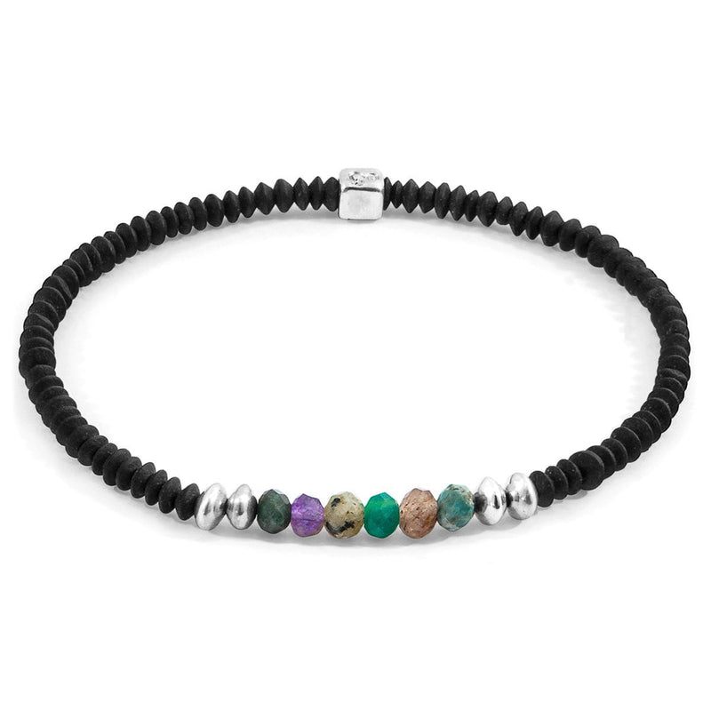 Multicoloured Multi-Gem Paralana Silver and Stone Bracelet