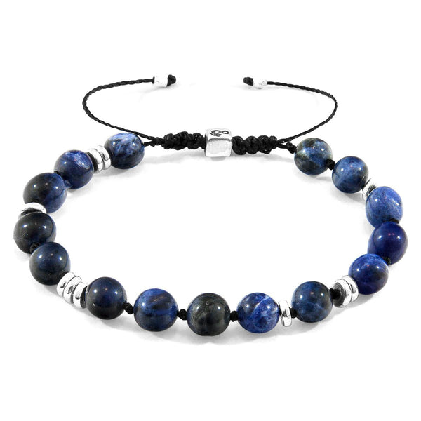 Blue Sodalite Agaya Silver and Stone Beaded Macrame Bracelet