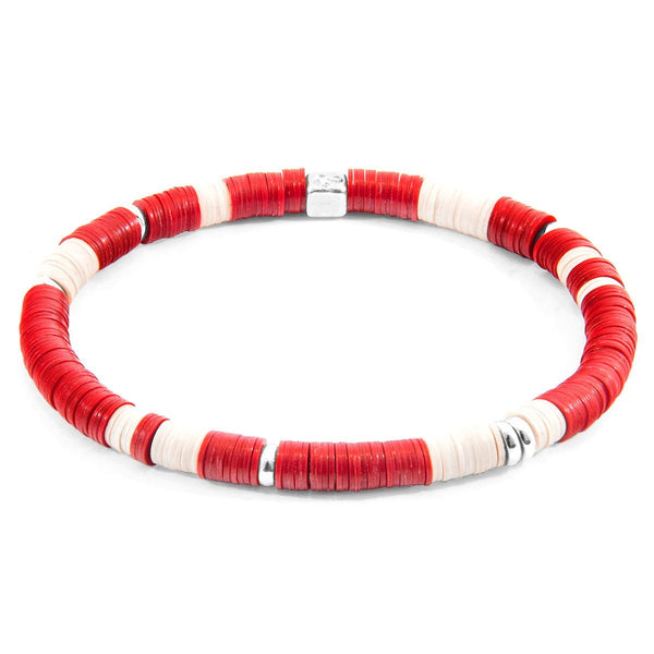 Red Malawi Silver and Vinyl Disc Bracelet