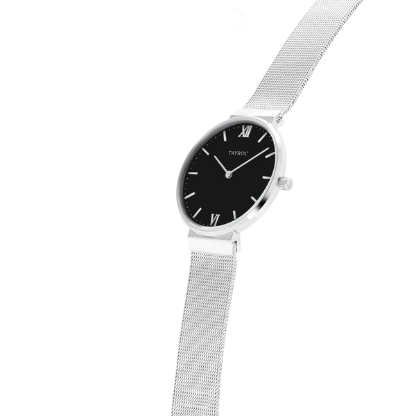 Aria offers a sleek minimalist design in an analog style. This beautiful black and silver women's watch is perfect for any occasion and outfit. Side view