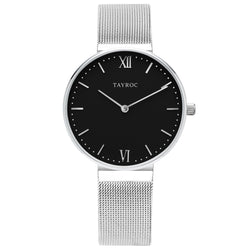 Aria offers a sleek minimalist design in an analog style. This beautiful black and silver women's watch is perfect for any occasion and outfit. Front view
