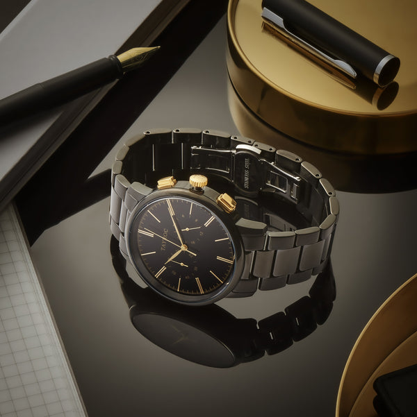 Black/Gold Steel is a 2 dial chronograph black watch with gold highlights. Part if the Meridian Collection from Tayroc.