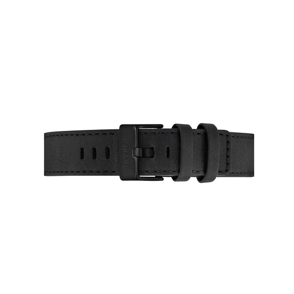 Black Leather Strap Matte Black Buckle 22mm