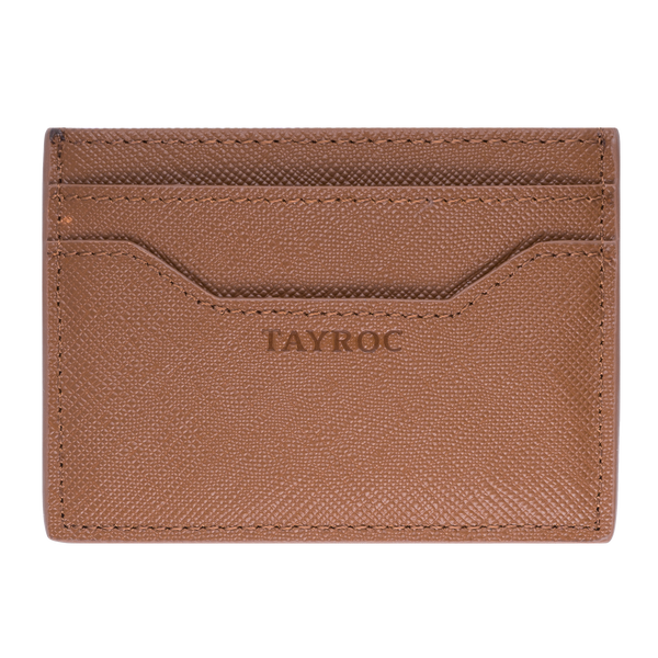 Mersey by Tayroc is a textured tan leather card holder wallet, featuring embossed Tayroc logo, edge stitching all in a slim design that is comfortable in your pocket. Front view.