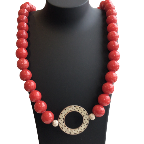 Filigree Red Coral  Necklace - AG Agora Jewellery London