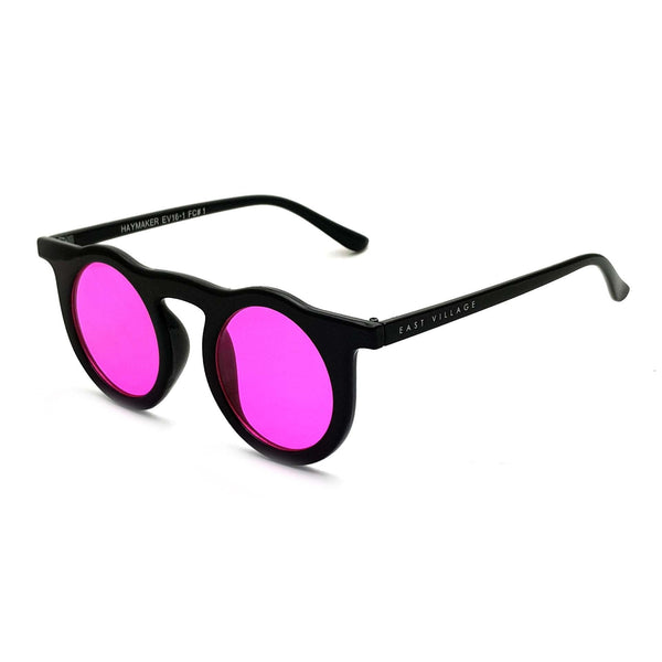 'Haymaker' Round Sunglasses Black With Pink Lens