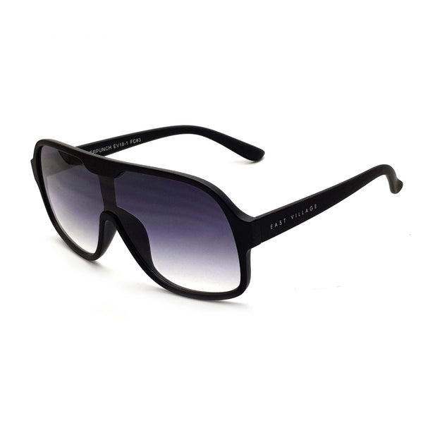 'Suckerpunch' Sunglasses Matt Black With Gradiated Smoke Lens