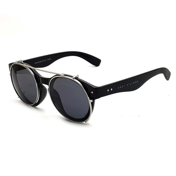 'Brawler' Round Sunglasses Black And Metal With Solid Smoke Lens