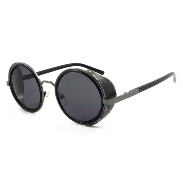 'Freeman' Round Sunglasses With Side Shield In Black