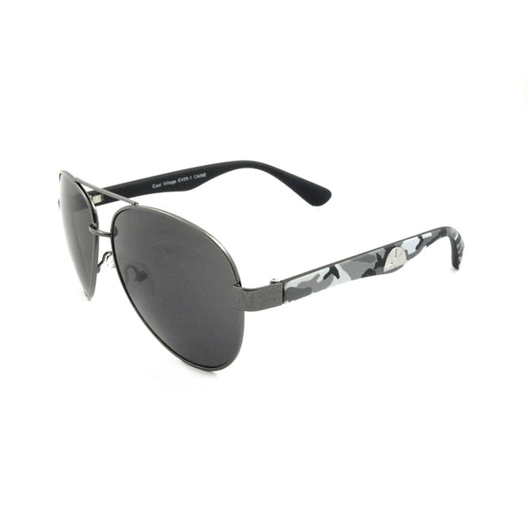 'Caine' Metal Frame Aviator Sunglasses With Grey Camouflage Temples