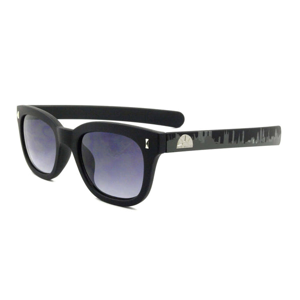 Plastic 'Pacino' Sunglasses In Black With London Skyline Printed On Temples