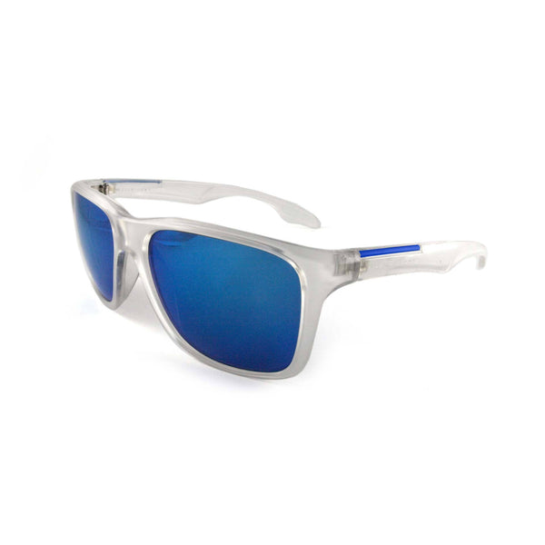 Sporty 'Putney' Square Clear Sunglasses with Blue Mirror Lens