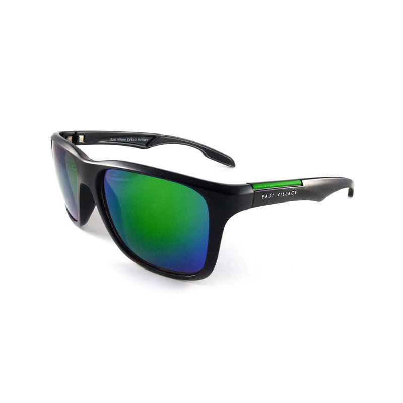 Sporty 'Putney' Square Black Sunglasses with Green Revo Lens