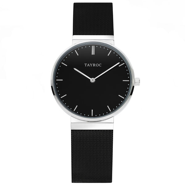 A black faced timepiece set in a silver casing with black mesh strap, Thor. Part of the Signature Collection by Tayroc.