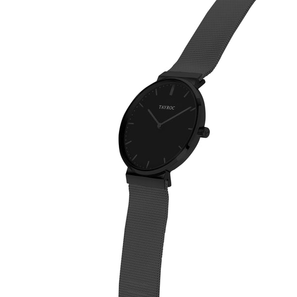 Slate by Tayroc. A minimalist black watch. Side View.