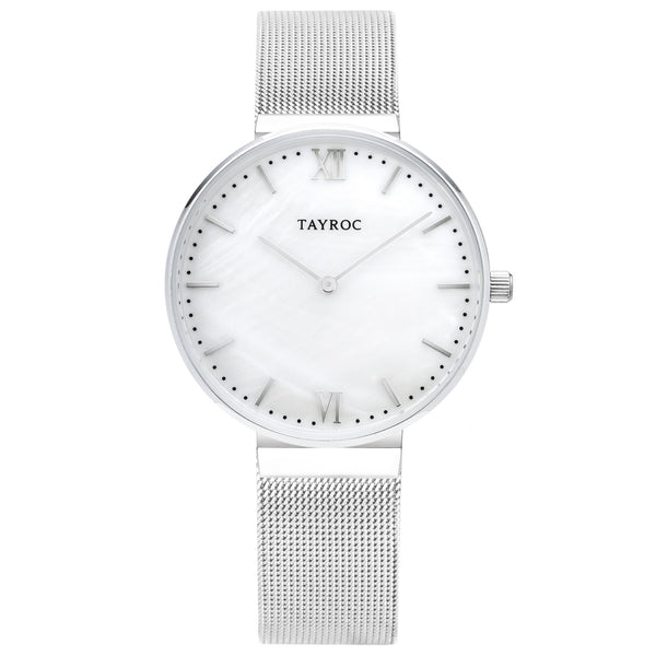 Talia is a beautiful silver minimalist watch, complete with contemporary mesh strap design and complimentary white face all in a simple analog style. Front view