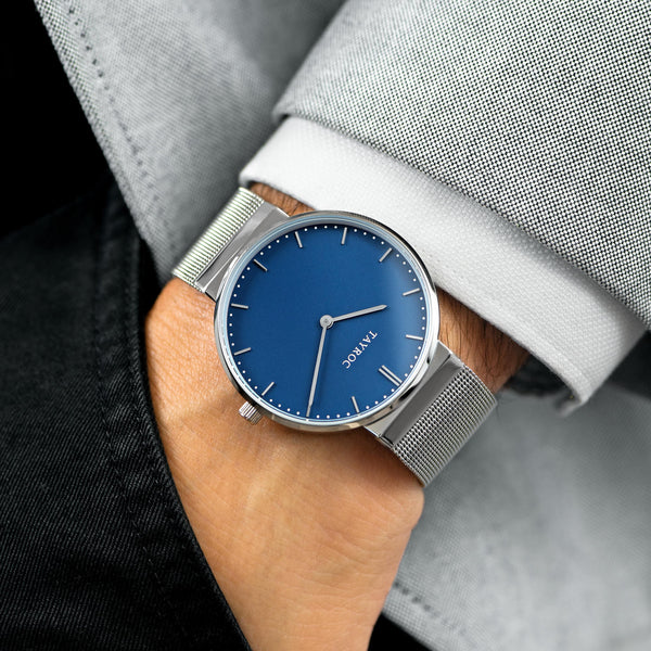 Bayu model watch with a blue face, silver meshband strap and stainless steel casing