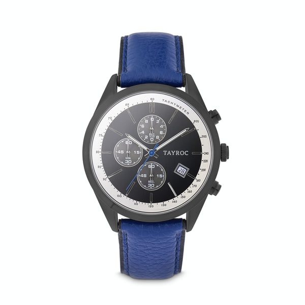 Highlander BLACK/BLUE. A bold and stunning composite of features pulled together to create a truly outstanding timepiece that is versatile and sleek. This piece comes in a black and blue palette. Style 1 view.