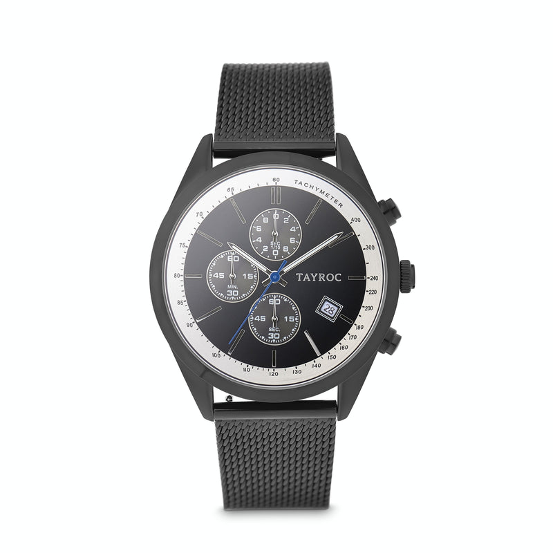 Highlander BLACK/BLUE. A bold and stunning composite of features pulled together to create a truly outstanding timepiece that is versatile and sleek. This piece comes in a black and blue palette. Style 2 view.