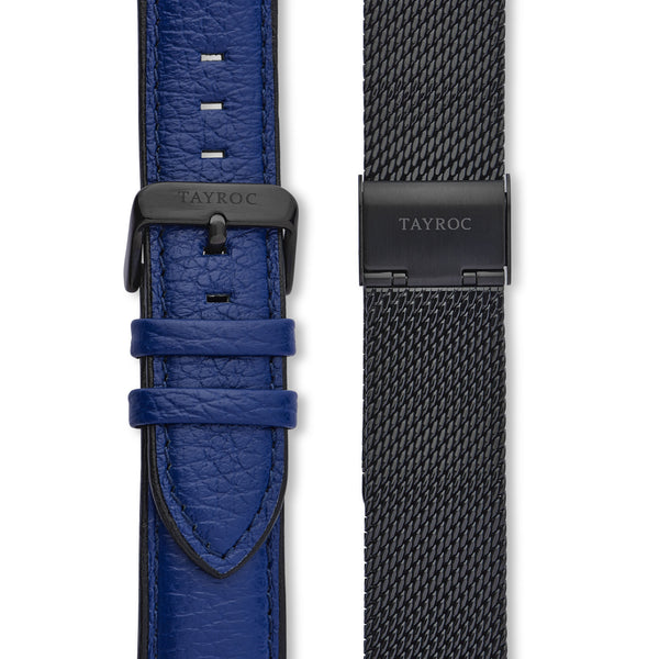 Highlander BLACK/BLUE. A bold and stunning composite of features pulled together to create a truly outstanding timepiece that is versatile and sleek. This piece comes in a black and blue palette. Straps view.