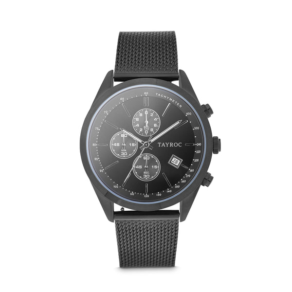 Highlander BLACK/BLACK. A bold and stunning composite of features pulled together to create a truly outstanding timepiece that is versatile and sleek. Style 1 view.
