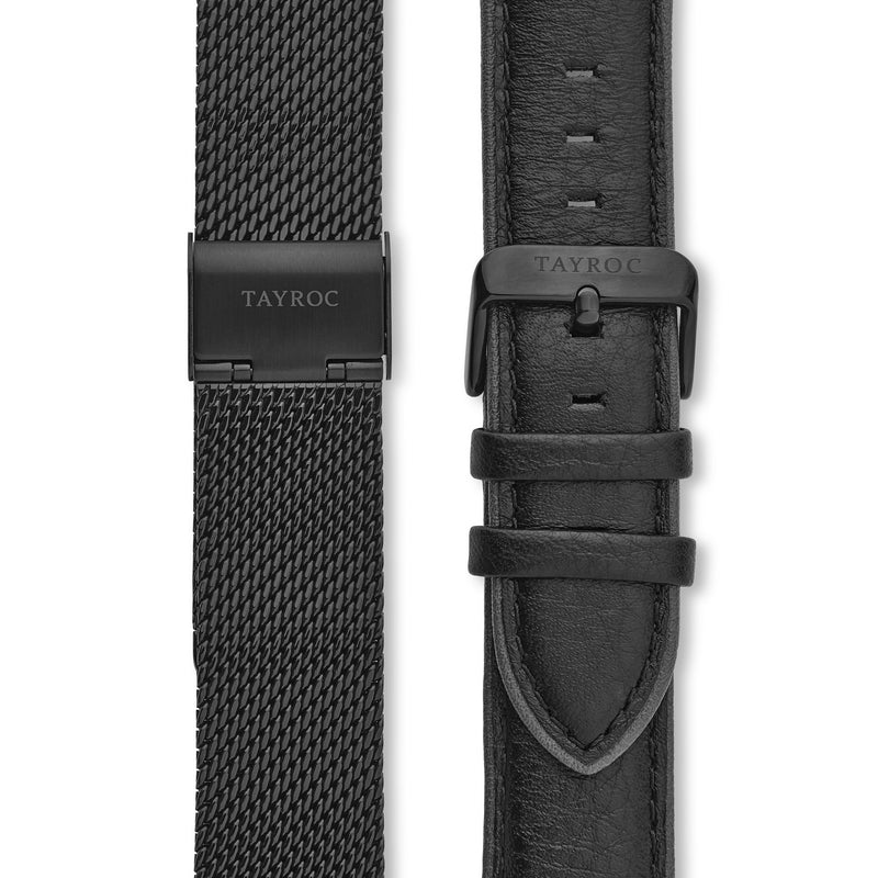 Highlander BLACK/BLACK. A bold and stunning composite of features pulled together to create a truly outstanding timepiece that is versatile and sleek. Straps view.