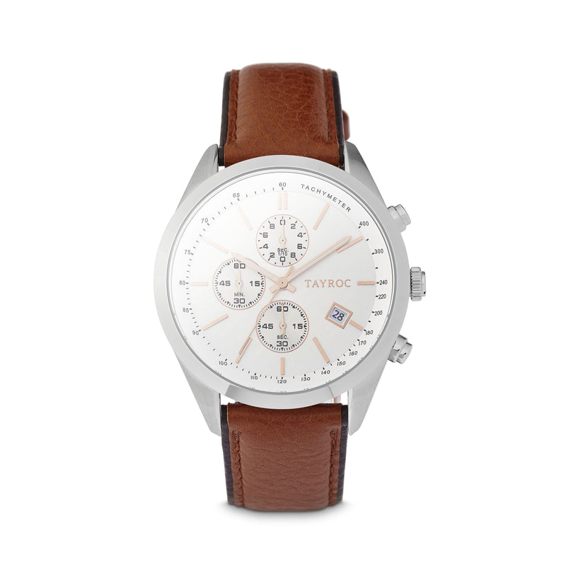 Highlander SILVER/BROWN. A bold and stunning composite of features pulled together to create a truly outstanding timepiece that is versatile and sleek. This piece comes in a white and tan palette. Style 2 view.