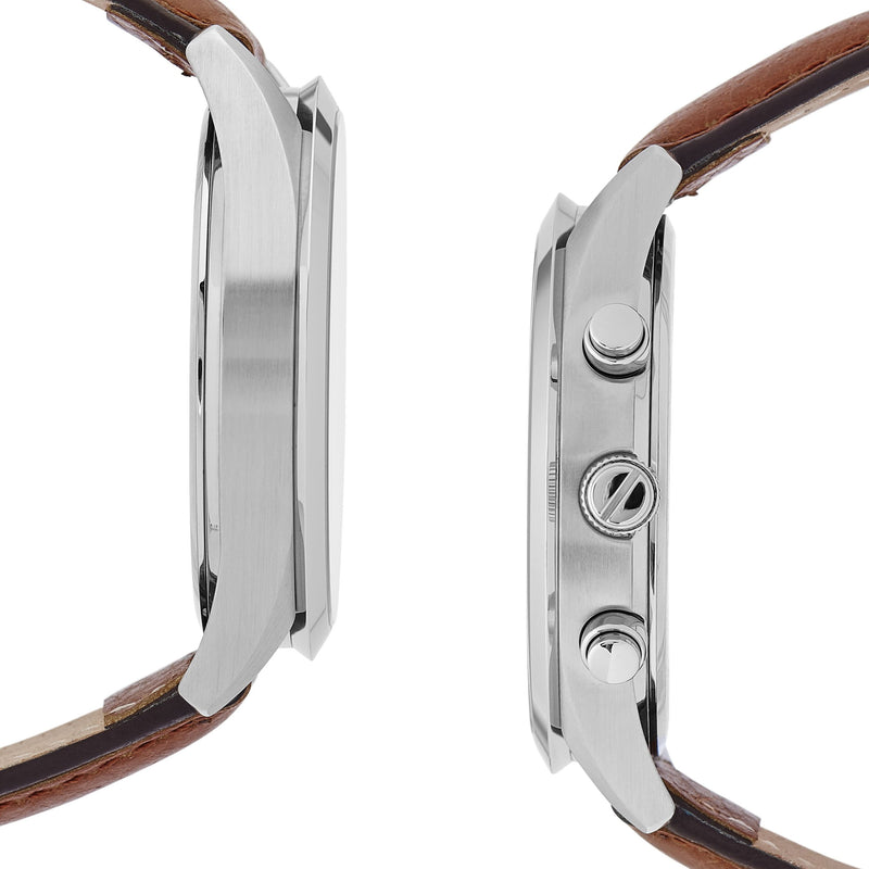 Highlander SILVER/BROWN. A bold and stunning composite of features pulled together to create a truly outstanding timepiece that is versatile and sleek. This piece comes in a white and tan palette. Sides view.