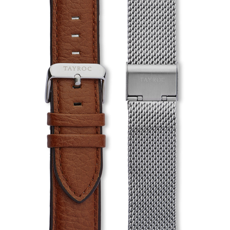 Highlander SILVER/BROWN. A bold and stunning composite of features pulled together to create a truly outstanding timepiece that is versatile and sleek. This piece comes in a white and tan palette. Straps view.