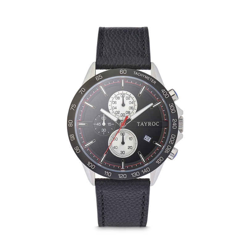 Hampton BLACK/BLACK. Designed in a dark classic dial style complete with 3 dial chronograph system and real leather strap. Front view.