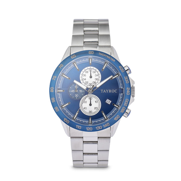 Hampton BLUE/SILVER. Designed in a stunning blue and silver palette with a classic dial design, topped off with a 3 dial chronograph system and linked strap. Front view.
