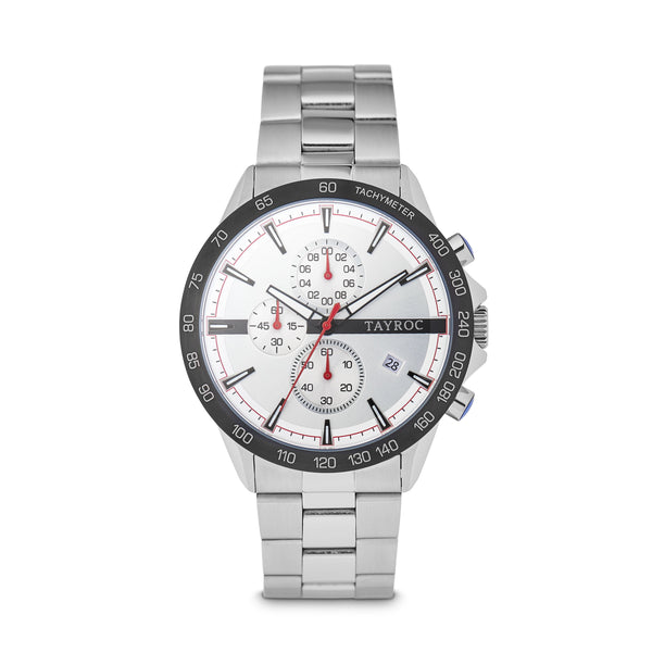 Hampton WHITE/SILVER. Designed in a cool white and silver palette with a classic dial design, topped off with a 3 dial chronograph system and linked strap. Front view.