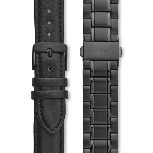 Holte BLACK/BLACK. The very latest minimalist watch, crafted in a sleek black colour scheme that accentuates the feature hands. Straps view.