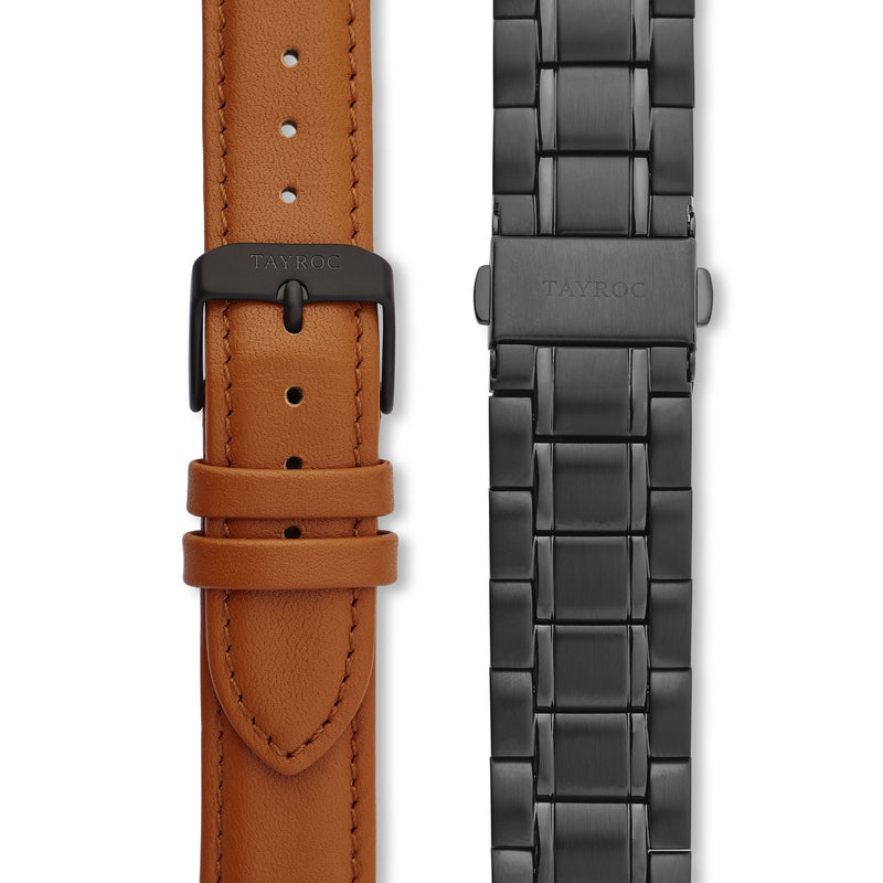 Holte BLACK/TAN. The very latest minimalist watch, crafted in a beautiful tan and black colour scheme that is alive with character. Straps view.