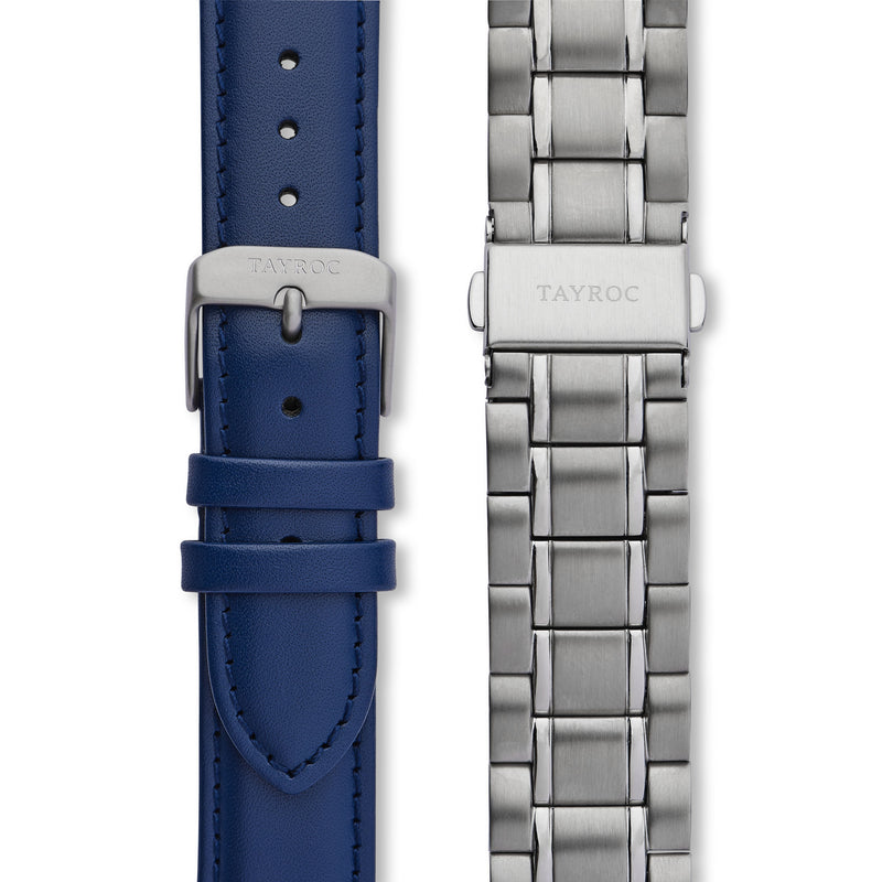 Holte SILVER/BLUE. The very latest minimalist watch, crafted in a beautiful blue and silver colour scheme that is alive with character. Straps view.