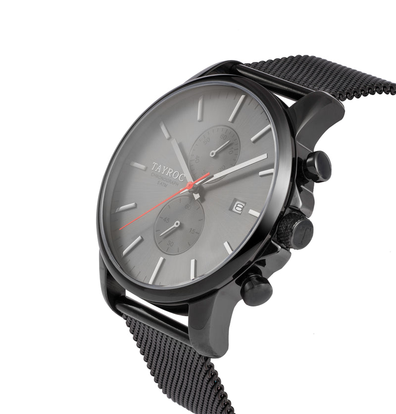 TXM054. A watch of distinction. All black design offset with the red accent hand.